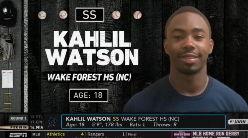 """miami-marlins-select-""""dynamic""""-high-school-shortstop-khalil-watson-with-first-round-pick-–-miami-new-times"""